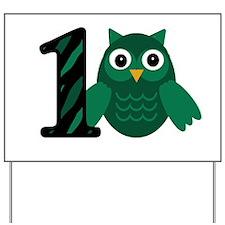 Birthday Boy Owl with a 1 Yard Sign