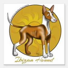 Ibizan Hound With Sun Square Car Magnet 3&Quot; X