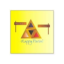 "Purim_Hamantaschen_square_b Square Sticker 3"" x 3"""