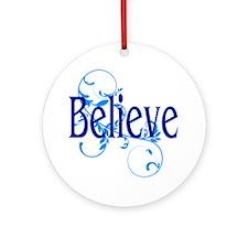 Blue Believe with Blue Flourish Round Ornament