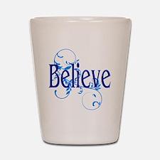 Blue Believe with Blue Flourish Shot Glass