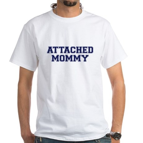 Attached Mommy Collegiate White T-Shirt