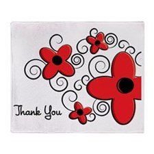 Red Retro Flower Thank You Greeting Throw Blanket