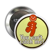 """gingerbread_man_yellow_large 2.25"""" Button"""