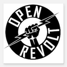 "OpenReVoltLogo_black_on_ Square Car Magnet 3"" x 3"""