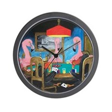 Birds Playing Poker Wall Clock