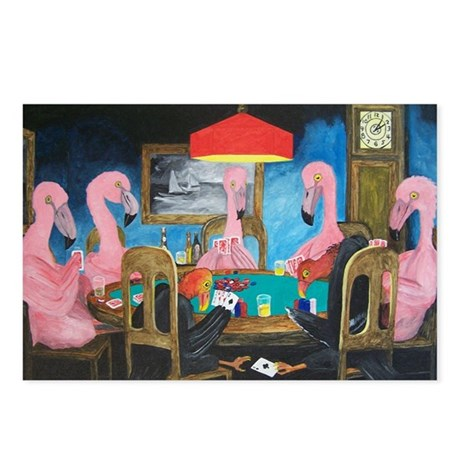 Birds Playing Poker Postcards (Package of 8)