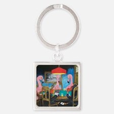 Birds Playing Poker Square Keychain