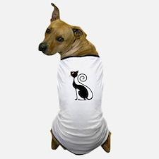 Black Cat Vintage Style Design Dog T-Shirt