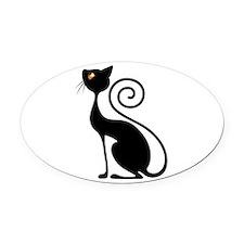 Black Cat Vintage Style Design Oval Car Magnet