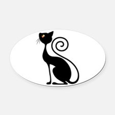 Black Cat Vintage Style Design Oval Car Magnet