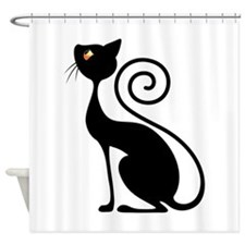 Black Cat Vintage Style Design Shower Curtain