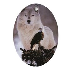 wolf-and-eagle 5 Oval Ornament