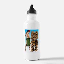 tiki  wahine-Lg-blue-0 Water Bottle