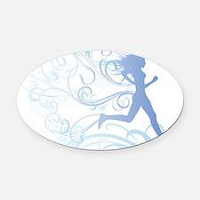 runner_girl_blue Oval Car Magnet