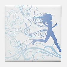 runner_girl_blue Tile Coaster