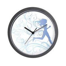 runner_girl_blue Wall Clock