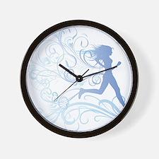 runner_girl_blue Wall Clock