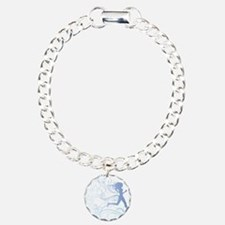 runner_girl_blue Charm Bracelet, One Charm