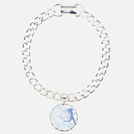 runner_girl_blue Charm Bracelet, One Charm