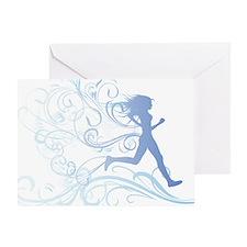 runner_girl_blue Greeting Card