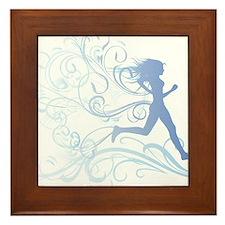 runner_girl_blue Framed Tile