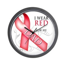 I Wear Red for my Dad Wall Clock