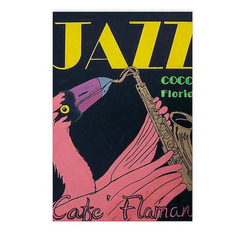 Jazz Flamingo Saxaphone Postcards (Package of 8)