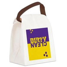dirtycleansq_pur_yel Canvas Lunch Bag