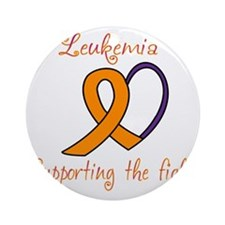 Leukemia Support Fight Round Ornament