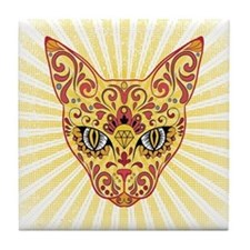 Cool Bright Egyptian style mystic cat Tile Coaster
