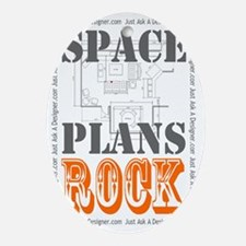 Space Plans Rock White Bkg Oval Ornament