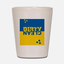 dirtycleansq_bl_yel Shot Glass