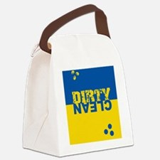 dirtycleansq_bl_yel Canvas Lunch Bag
