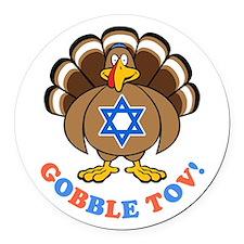 Funny Thanksgiving Hanukkah 2013 [r] Round Car Mag