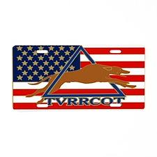 TVRRCOT LOGO PIN FLAG Aluminum License Plate