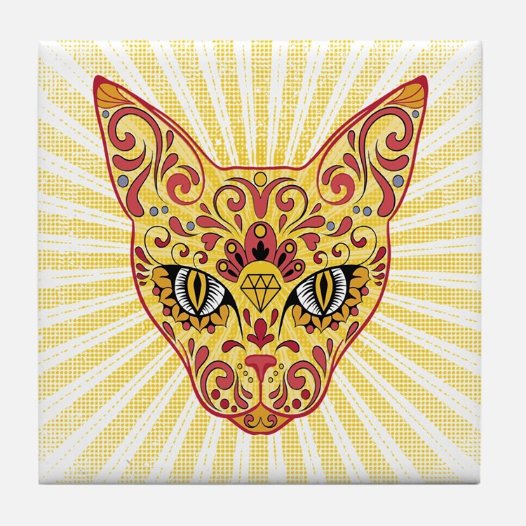 Cool Egyptian style mystic cat Tile Coaster