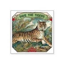 "Save The Tigers Square Sticker 3"" x 3"""