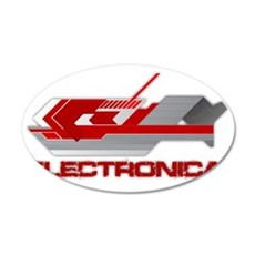 electreonica red 35x21 Oval Wall Decal