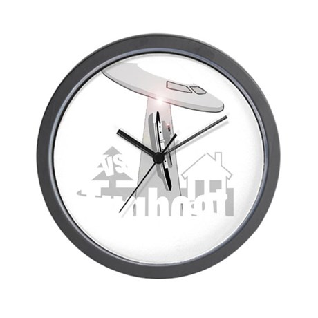 funny tugboat and ufo design Wall Clock