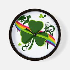rainbow shamrock copy Wall Clock