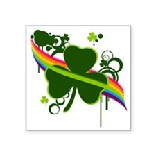 "rainbow shamrock copy Square Sticker 3"" x 3"""