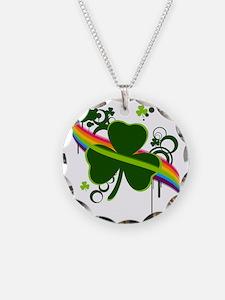 rainbow shamrock copy Necklace Circle Charm