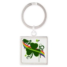 rainbow shamrock copy Square Keychain
