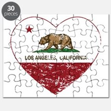 california flag los angeles heart distressed Puzzl