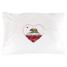california flag los angeles heart distressed Pillo