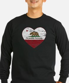 california flag los angeles heart distressed T