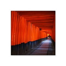 "Torii Gates in Kyoto, Japan Square Sticker 3"" x 3"""