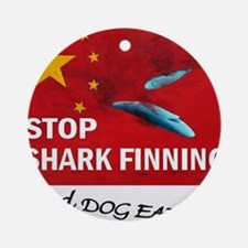 shark-finning-dogs Round Ornament