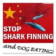"""shark-finning-dogs Square Car Magnet 3"""" x 3"""""""